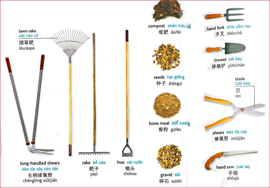 Tiếng Trung chủ đề dụng cụ làm vườn