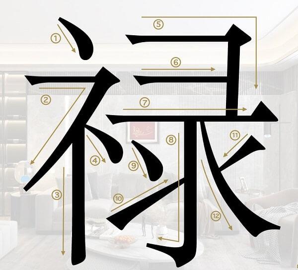Cách viết chữ Lộc tiếng Trung